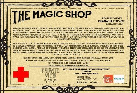magic shop, meanwhile space, laurie nouchka, xvi artists, art, exhibition, london, private view, stoke newington,