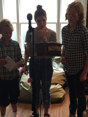 Freddie, Perry, Julia doing audio recording for VESSEL