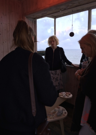 Kirsty and Sarah showing works to Caroline and France at Preview