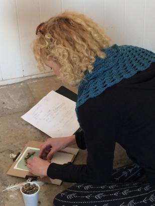 Kirsty making cyanotype prints